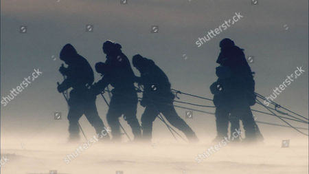 Reconstruction of  Captain Scott's Team heading for the South Pole