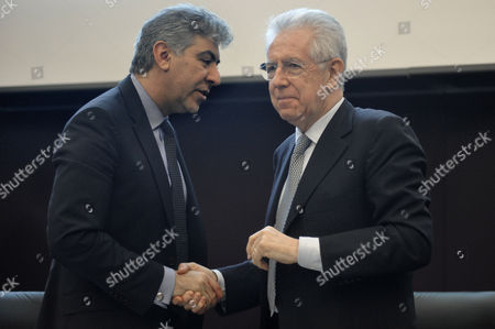 The Director of IMF for Europe Reza Moghadam and the Italian Prime Minister, Mario Monti
