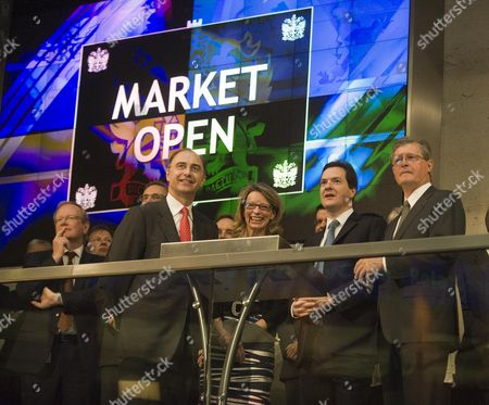 Xavier Rolet Ceo Of Se Gay Huey-evans Board Member Se George Osborne And Dr. Chris Gibson-smith Chairman Of Se. Chancellor Of The Exchequer Rt Hon George Osborne Opens The Days Trading At The Stock Exchange Today As The Traditional Form Of Market Opening Is Reserected. Picture By Glenn Copus