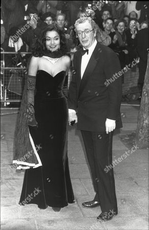 Actor Michael Caine With Wife Shakira Baksh (mrs Shakira Caine) At Film Premiere Of 'dangerous Liaison'
