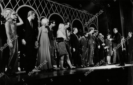 Rehearsals For The Royal Variety Performance At London Palladium 1965 Royal Command Performance L-r Dusty Springfield Johnny Hallyday Arthur Haynes (7th Left) Dudley Moore Peter Cook Max Bygraves Jack Benny And Frank Ifield (2nd Right)