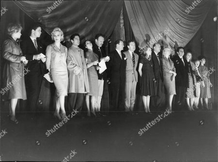 Rehearsals For The Royal Variety Performance At Odeon Leicester Square 1960 Royal Command Performance L-r Mai Zetterling Cliff Richard Carole Leslie Antonio Nancy Kwan Terry Thomas John Mills Kenneth More Leslie Caron Noel Coward Mylene Demongeot Anthony Newley Marina Vlady Charlie Drake And Yoko Tani
