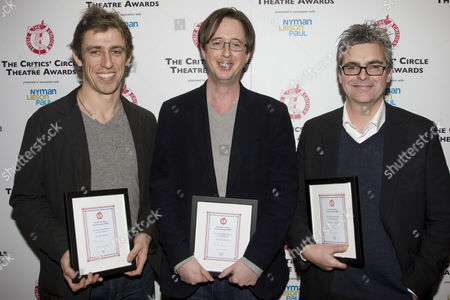 Joseph Smith, Michael McCabe and Matthew Byam-Shaw with The Peter Hepple Award for Best Musical for 'Spring Awakening'