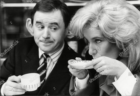 Theatrical Plays 'the Sloane Ranger Review' Starring Jan Ravens And Nick Wilton With Jan Ravens Drinking Out Of A Saucer