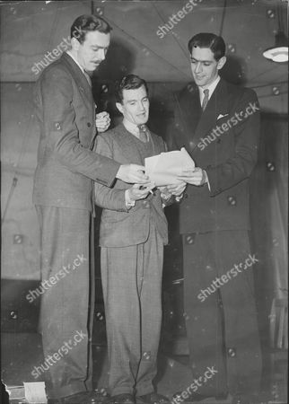 Script Writers Frank Muir (left) And Dennis Norden (right) Go Through Script Of Radio Show 'take It From Here' With Producer Charles Maxwell