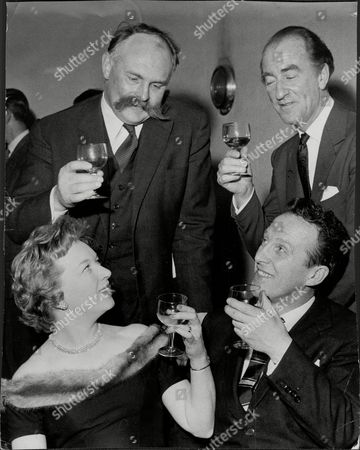 Editorial photo of Actor And Comedian Jimmy Edwards (top Left) With Actress June Whitfield And Dj Dick Bartley (top Right) And Wallas Eaton At Last Of 'take It From Here' Jimmy Edwards Dfc (23 March 1920 A 7 July 1988) Was An English Comedic Script Writer And Comedy