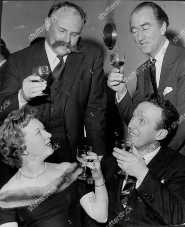 Stock Photo of Actor And Comedian Jimmy Edwards (top Left) With Actress June Whitfield And Dj Dick Bartley (top Right) And Wallas Eaton At Last Of 'take It From Here' Jimmy Edwards Dfc (23 March 1920 A 7 July 1988) Was An English Comedic Script Writer And Comedy Actor On Both Radio And Television Best Known As Pa Glum In Take It From Here And As The Headmaster 'professor' James Edwards In Whack-o!