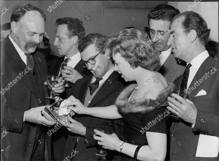 Actor And Comedian Jimmy Edwards (left) Presents Gift To Producer Charles Maxwell With Actress June Whitfield And Dj Dick Bentley (right) And Wallas Eaton (2nd Left) At Last Of 'take It From Here' Jimmy Edwards Dfc (23 March 1920 A 7 July 1988) Was An English Comedic Script Writer And Comedy Actor On Both Radio And Television Best Known As Pa Glum In Take It From Here And As The Headmaster 'professor' James Edwards In Whack-o!