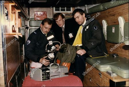 The Medical Team At The York Hall In Bethnal Green London Ahead Of A Boxing Match Paramedic Terry Davies (left) With Promoter Steve Robinson (centre) And Ambulance Operator Dave Green Outside York Hall