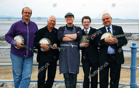 Adrian Edmondson with members of the George Formby