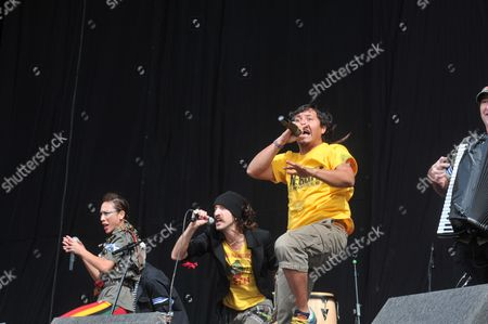 Reading United Kingdom - August 27: Gogol Bordello Live On Stage At Reading Festival On August 27