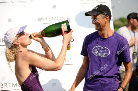 Gary Connery and his wife Vivian celebrating after the stunt