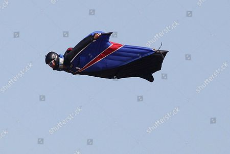 Gary Connery flying through the air in his wingsuit