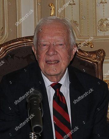 Stock Photo of Former US president Jimmy Carter meets with Egyptian Parliament Speaker Saad al-Katatni