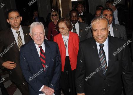 Former US president Jimmy Carter meets with Egyptian Parliament Speaker Saad al-Katatni