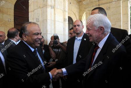 Stock Image of Former US president Jimmy Carter meets with Egyptian Parliament Speaker Saad al-Katatni