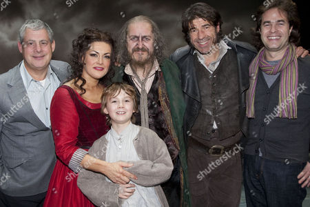 Oliver! The Musical - Cameron Mackintosh (Producer), Jodie Prenger (Nancy), Edward Cooke (Oliver), Griff Rhys Jones (Fagin), Steven Hartley (Bill Sykes) and Rupert Goold (Director) backstage after the curtain call