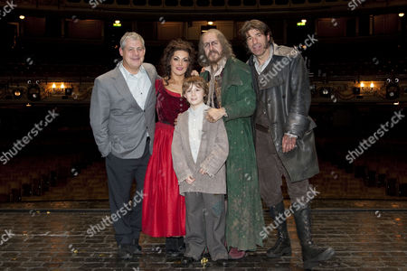 Oliver! The Musical - Cameron Mackintosh (Producer), Jodie Prenger (Nancy), Edward Cooke (Oliver), Griff Rhys Jones (Fagin) and Steven Hartley (Bill Sykes) backstage after the curtain call