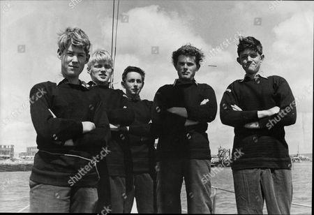 Some Of The Boys Who Will Crew The Schooner The Sir Winston Churchill; Hugh Williams Pat Murdoch Tom Moore Bob Ward And Bob Mansbridge 1965.