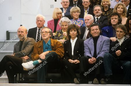 Front row: Unknown, Alan Freeman, Maggie Philbin, Tony Blackburn and Johnny Walker. Second row includes Keith Fordyce, Mary Whitehouse and Donovan. Third row includes Rita Tushingham, Dora Bryan and Nyree Dawn Porter