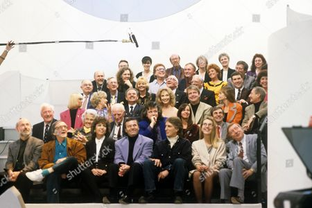 Front row: Unknown, Alan Freeman, Maggie Philbin, Tony Blackburn and Johnny Walker. Second row includes Keith Fordyce, Mary Whitehouse and Donovan. Third row includes Rita Tushingham, Dora Bryan, Nyree Dawn Porter and Robert Duncan
