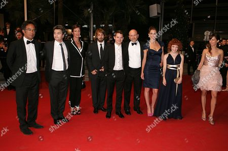 Stock Photo of Antoine de Cazotte, Megan Duffy, Genevieve Alexandra, producer Thomas Langmann, Elijah Wood, producer Alix Taylor, Gregory Levasseur, guest, Alexandre Aja and guest