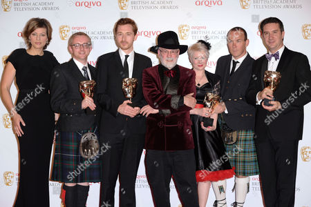 Kate Silverton and Sir Terry Pratchett with winners