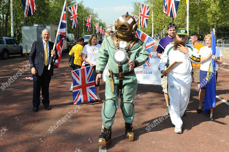 Editorial photo of Lloyd Scott starts his Diamond Jubilee Marathon, London, Britain - 28 May 2012