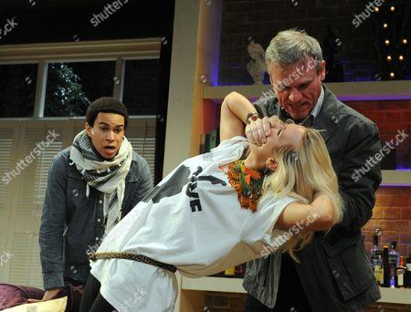 John MacMillan as Castro, Trevor Fox as Gordon, Emily Berrington as Effie