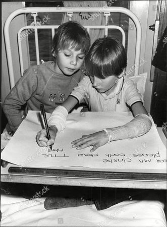 Editorial picture of Sean Barnabille (wrighting And Scott Page Who Both Suffer From Systic Fibrosis Write A Letter To The Prime Minister Protesting Against The Closure Of Tadworth Court Children's Hospital In Surrey