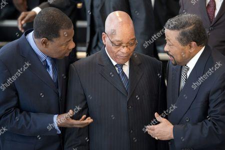 Stock Image of Benin President Boni Yayi, President Jacob Zuma of South Africa and AU Chairperson Jean Ping
