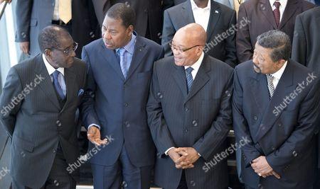President Robert Mugabe of Zimbabwe, Benin President Boni Yayi, President Jacob Zuma of South Africa and AU Chairperson Jean Ping