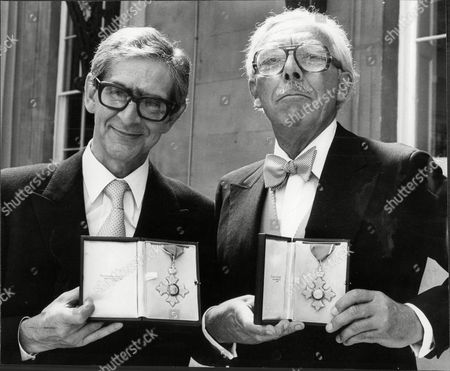 Stock Image of (l-r) Dennis Norden And Frank Muir After Their Investiture.