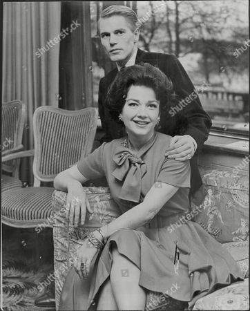 American Actress Anne Baxter (died 12/85) With Singer Adam Faith (died 3/03).