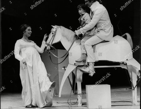 Judi Dench Barrie Ingham And Jeremy Richardson; Actors On Stage With Prop Horse For Production Of Shakespeare's A Winter's Tale 1969.