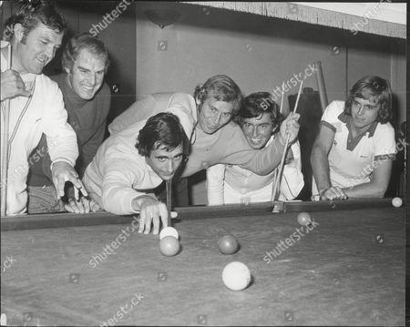 Tennis Players Playing Pool At Queen's Club - (l-r) Roger Becker Tony Pickard Mark Farrell John Feaver And John Lloyd Watching Roger Taylor Take A Shot.