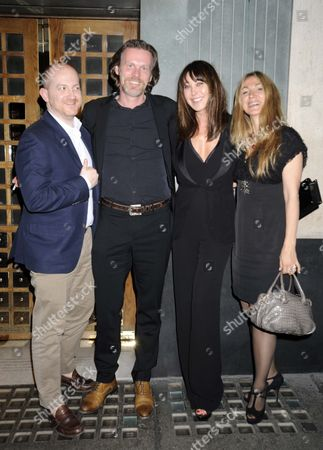 Stock Picture of L-r Josh Schulman Ceo Of Jimmy Choo Reinhard Mieck Ceo Of Labelux Tamara Mellon Obe And Catia Cesari Mergers Director Labelux Eaving The Ivy Restaurant In Central London Tonight After Celebrating The Take Over Of Jimmy Choo.