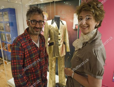 Jewish Entertainers Maureen Lipman And David Baddiel Launch Entertaining The Nation Stars Of Music Stage & Screen At The Jewish Museum. Just Behind Them Is The Marc Bolan Gold Lame Suit. Picture By Glenn Copus