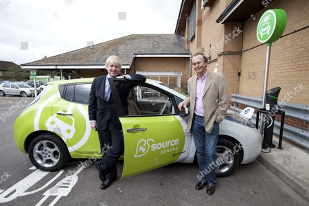 Mayor Boris Johnson Driving An Electric Car Into An Asda Car Park In Kingston Launches 'source London' The First Ever City Wide Charge Point Network For Electric Car Drivers . Picture With Quentin Wilson