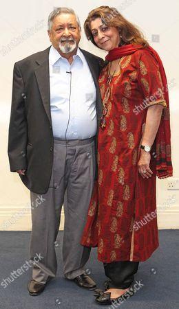 Nobel Prize For Literature Winner Vs Naipaul With His Wife Nadira. Ahead Of His Conversation With London Evening Standard Newspaper Editor Geordie Greig. Picture By: Nigel Howard Email: Nigelhowardmediaatgmail.com