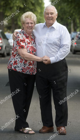 Stock Photo of Denis Oliver 78 Who Worked For The Government Car Service. He Drove Margaret Thatcher Enoch Powell As Well As Many Others. Denis With His Wife Anita 74.
