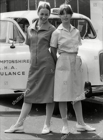 Susan Gilmore In New Style Nurses Uniform And Fellow Actress Fay Howard In Old Style Uniform 1980.