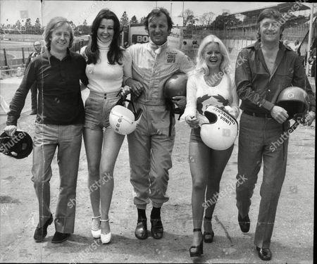 (l-r) Tim Brooke-taylor Linda Hooks Gerald Harper Linda Cunningham And Michael Parkinson At Brands Hatch.