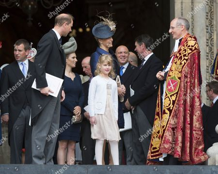 Prince Edward, Lady Louise Windsor and Sophie Countess of Wessex with with The Very Reverend David Ison