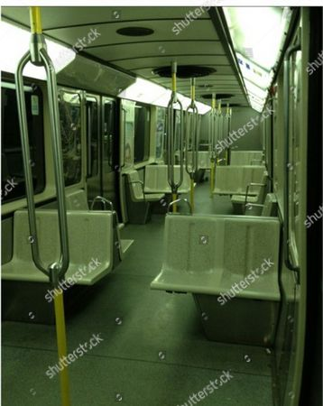 Image posted on his Weibo site by Lin Jun of Montreal metro train car he entitled 'Midnight man-eating train'