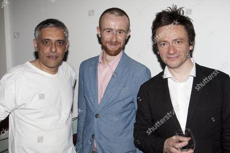Paul Bhattacharjee (Albert Einstein), John Heffernan (Johann Wilhelm Mobius) and Justin Salinger (Herbert Georg Beulter aka Newton)