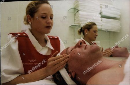 Editorial picture of Beauty Products Used By Men. Simon Mellor Receives A Clarins Beauty Treatment From Lucy Vose At The Larins Beauty Studio In Selfridges This Afternoon.
