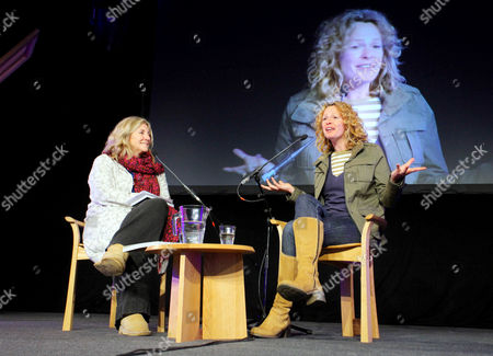 BBC Springwatch presenter Kate Humble (R) talking to Rosie Boycott (L)