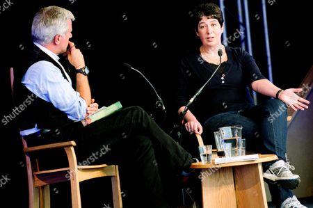 Joanne Harris (R) talks to Paul Blezard (L)