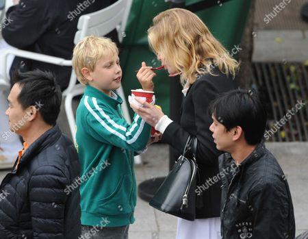 Stock Image of Natalia Vodianova with her son Lucas Alexander Portman